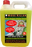 5 Litres TRADEFARMNI MOSS KILLER - Super Concentrated Liquid Green Mould, Moss and Algae Cleaner For All Hard Surfaces. Decking, Paving, Brickwork, PVC, Greenhouses, etc. Just Spray and Relax - CLEAR
