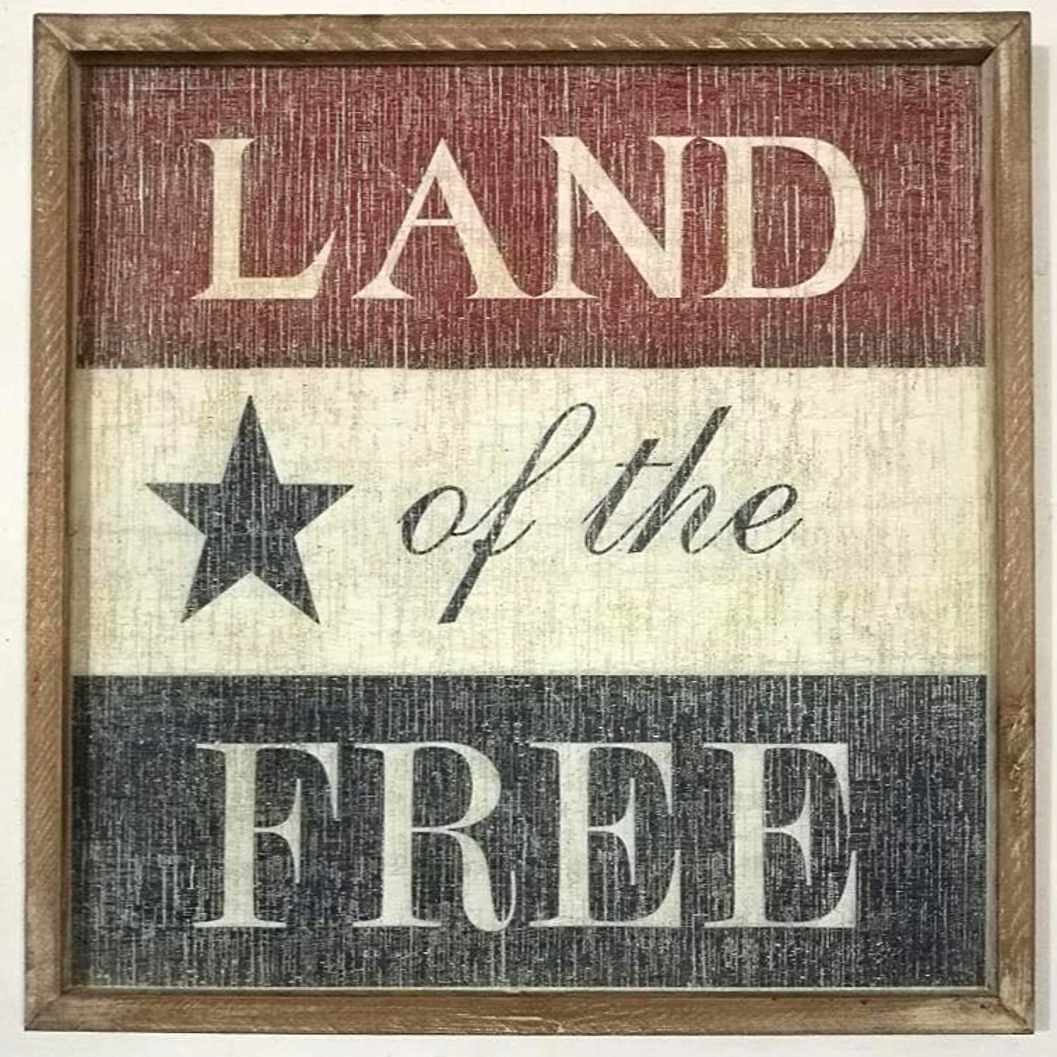 THE NIFTY NOOK Vintage Old Glory American Wall Sign Home Office Farmhouse Decor (Land Of The Free)