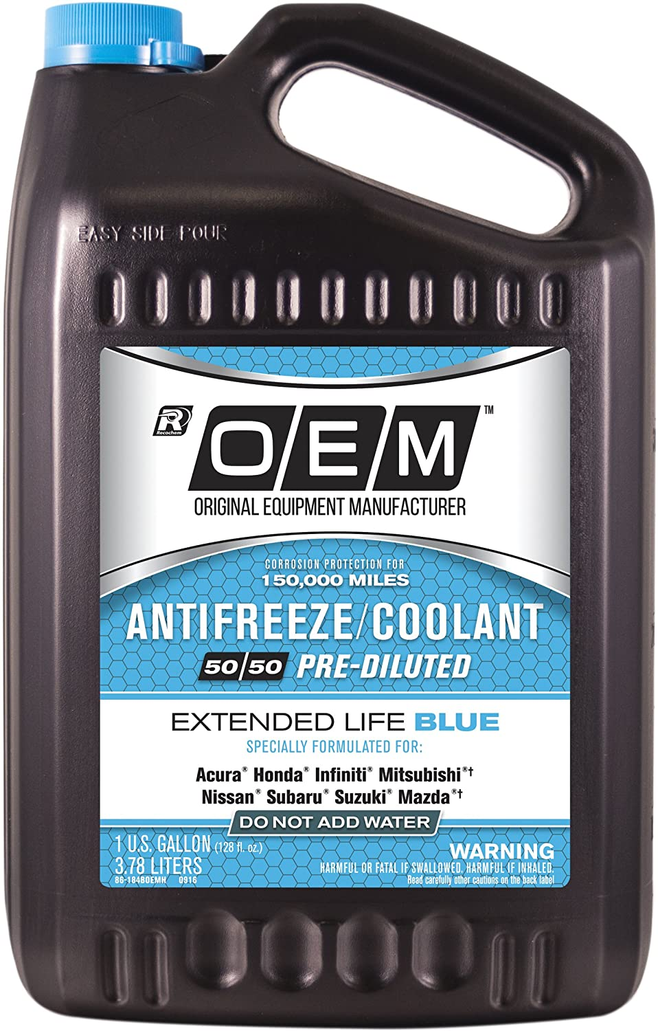 Amazon.com: Recochem OEM 86-184BOEMH Blue Premium Antifreeze 50/50 Extended Life BLUE, 1 gallon, 1 Pack: Automotive