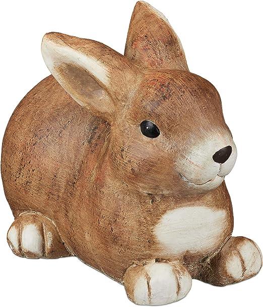 Relaxdays Figura de un Conejo para jardín, Anti-heladas, Impermeable, Interior y Exterior, Cerámica, Marrón: Amazon.es: Jardín
