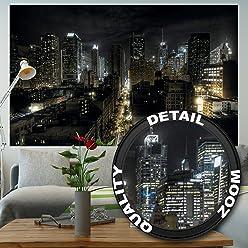 great-art Fototapete New York Manhattan Skyline Nacht - 210 x 140 cm 5-Teillige Wandtapete Tapete Fototapete USA Großstadt Wandbild Skyscraper