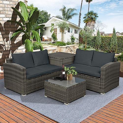 Leisure Zone 4 PCS Outdoor Cushioned PE Rattan Wicker Sectional Sofa Set Garden Patio Furniture Set Dark Grey Cushion