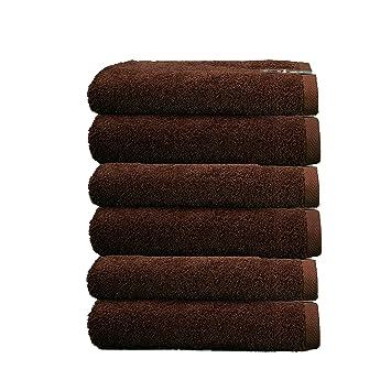 ADP Home - Toallas De Tocador Calidad De 100% Algodón Peinado 550 Grms Pack De 6 Unidades - Color - chocolate - Talla - 30x50 cm: Amazon.es: Hogar