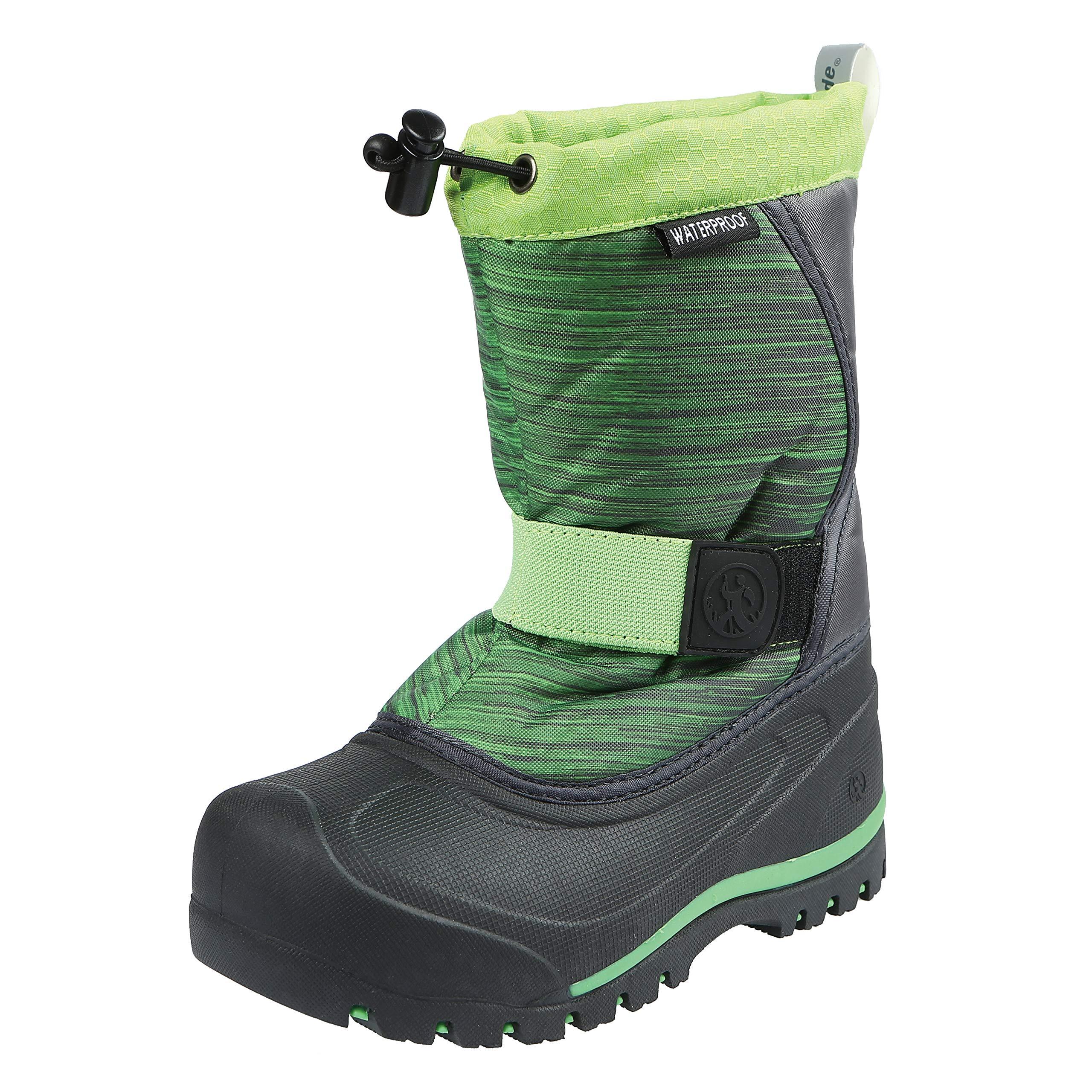 Northside Zephyr Snow Boot, Dk Gray/Lime, 5 Medium US Big Kid