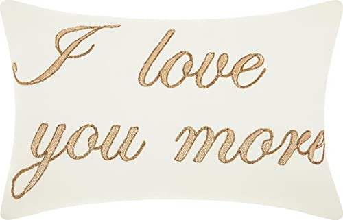 Nourison Mina Victory DR164 Luminescence I Love You More Throw Pillow, 14 x 20 , White