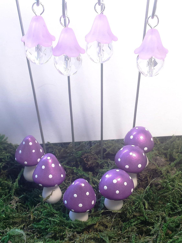 Fairy garden accessories 10 piece set Purple fairy lights and miniature mushrooms.