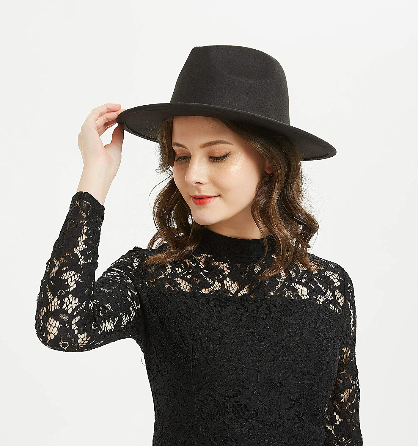 031095cd99b708 Women or Men Woolen Felt Fedora Vintage Short Brim Crushable Jazz Hat at  Amazon Women's Clothing store: