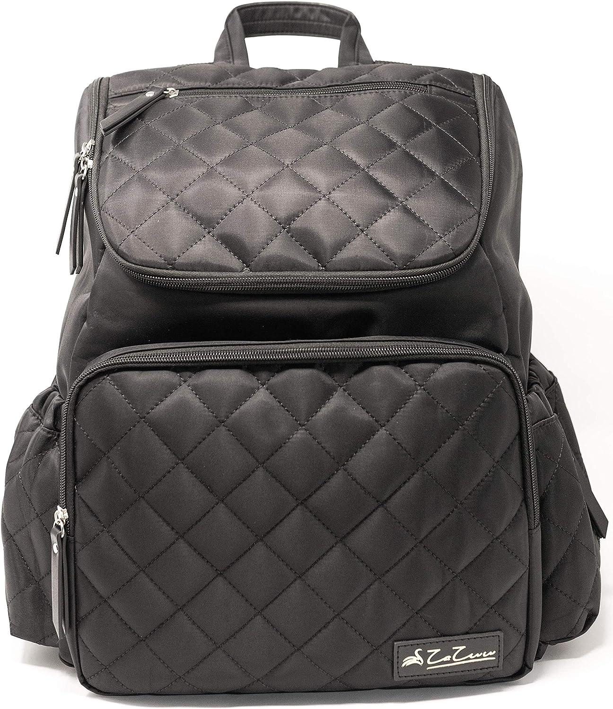 Diaper Bag Backpack for Mom - Large Multifunction Black Diaper Backpack. Stroller Straps and Changing Pad. Travel Back Pack, Baby Bag, Maternity Bag, Breast Pump Bag, Pañaleras Modernas.