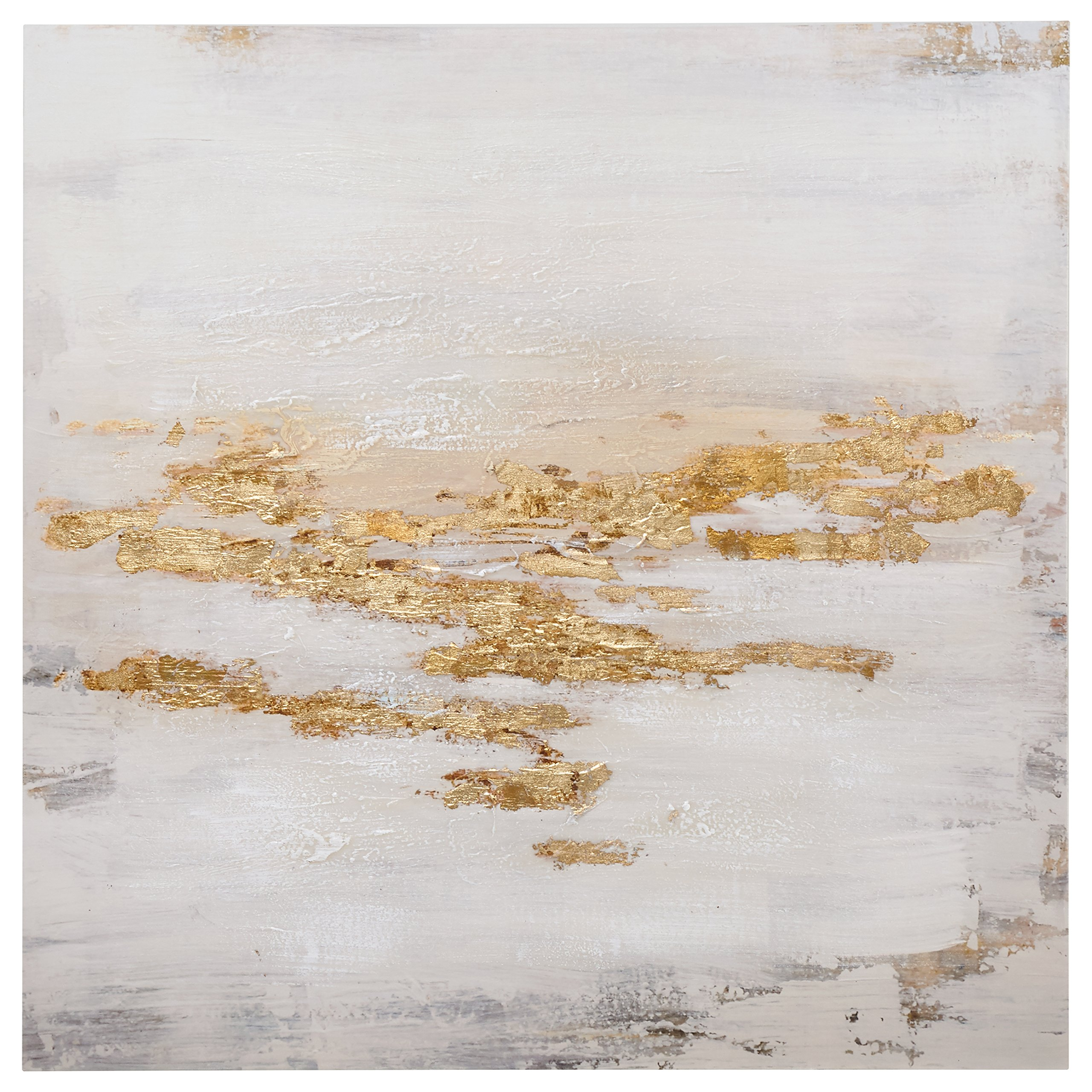 Rivet Abstract Gold and White Flecks on Canvas, 24'' x 24''