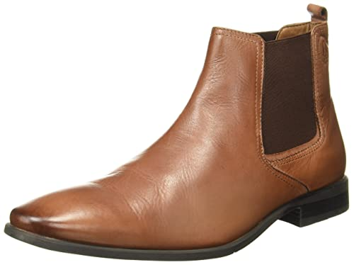 b9a11d36f1c Hush Puppies Men s New Fred Chelsea Tan Leather Boots - 10 UK India (44