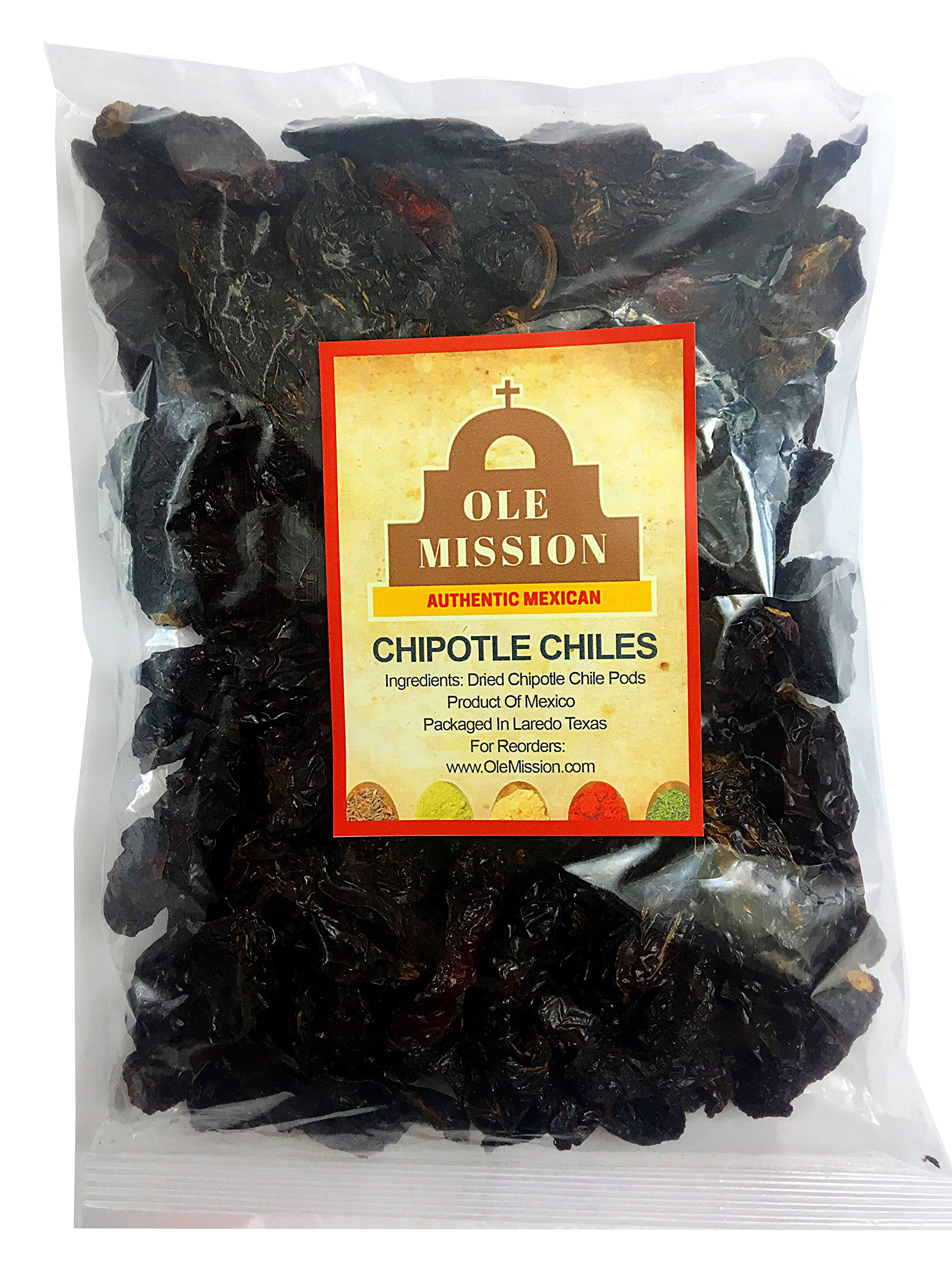 Dried Chipotle Peppers 4 oz Chile Morita Excellent Smoke Flavor For Mexican Recipes, Tamales, Salsa, Chili, Meats, Soups, Stews And Grill By Ole Mission