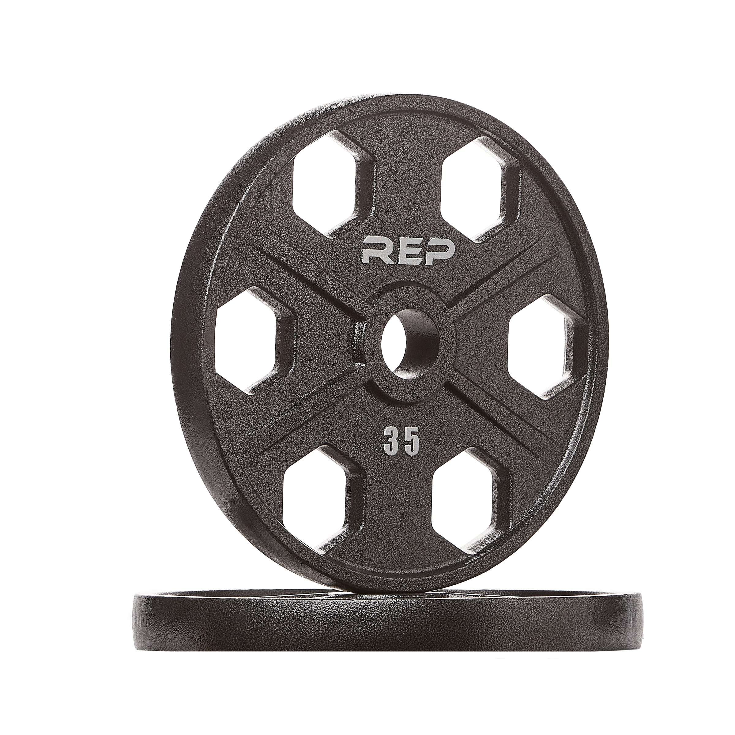 Rep Fitness Rep Black Equalizer Iron Olympic Plates, 35 lb Pair