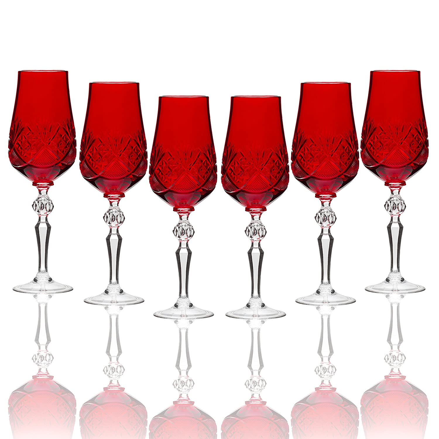 Christmas Tablescape Décor - Handmade Russian red cut crystal old-fashioned champagne flutes/ wine goblets - Set of 6