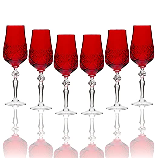 Christmas Tablescape Decor - Handmade Russian red cut crystal old-fashioned long stem champagne flutes - Set of 6