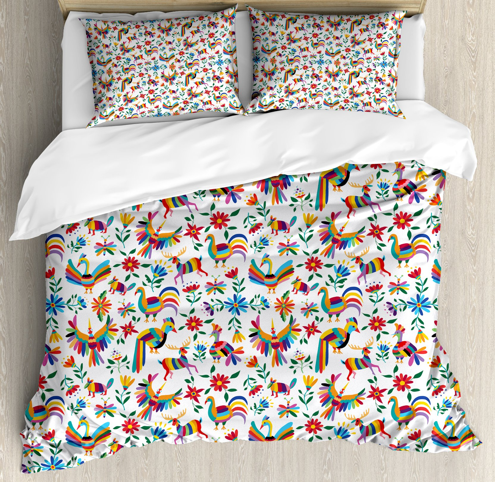 Ambesonne Mexican Duvet Cover Set King Size, Traditional Latin American Art Design with Natural Inspirations Flowers and Birds, Decorative 3 Piece Bedding Set with 2 Pillow Shams, Multicolor