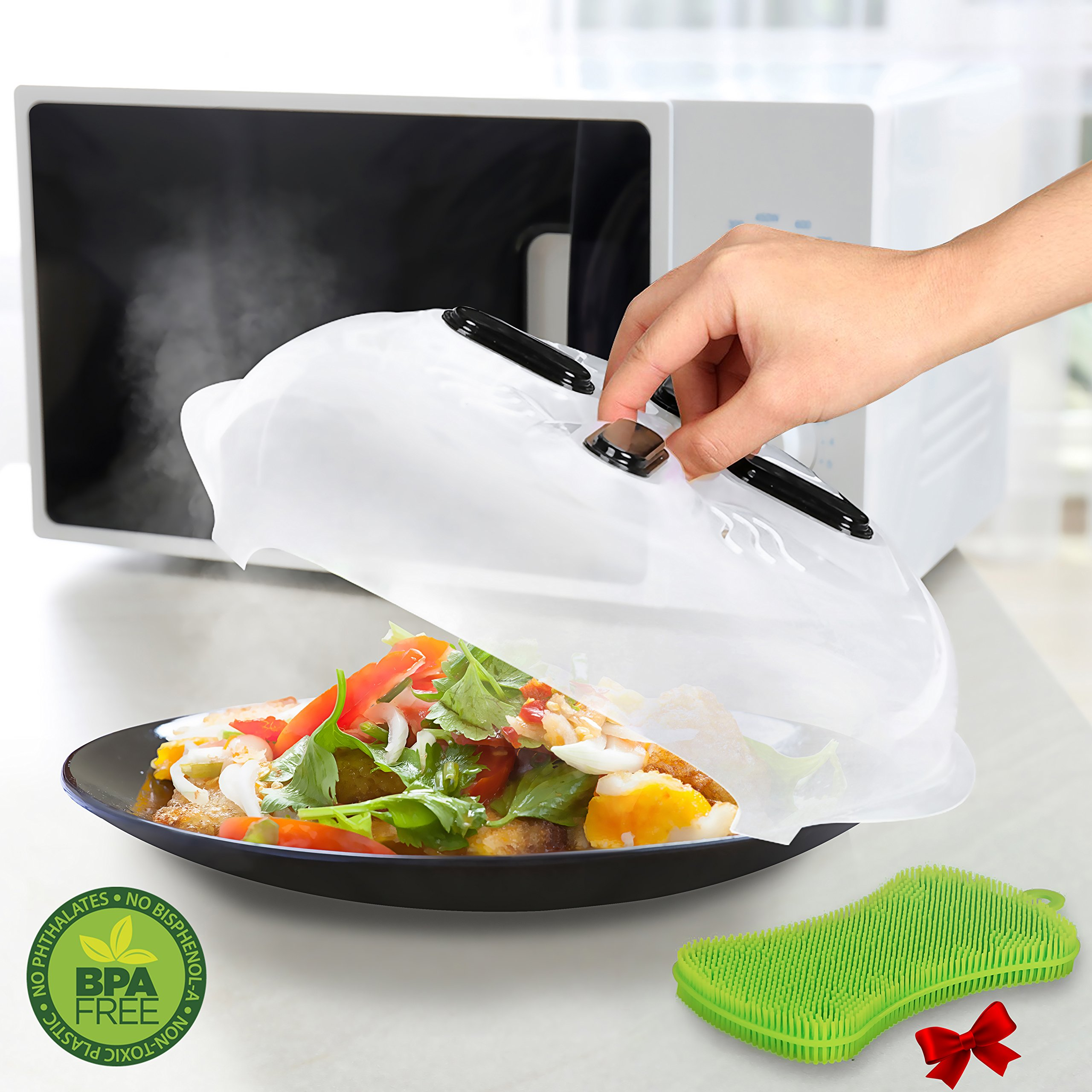 Microwave Plate Cover, Microwave Cover Magnetic Splatter Guard Lid, Microwave Food Cover with Steam Vents - 11.5 Inch & Antibacterial Silicone Sponge - Both BPA Free, by ELIFANA