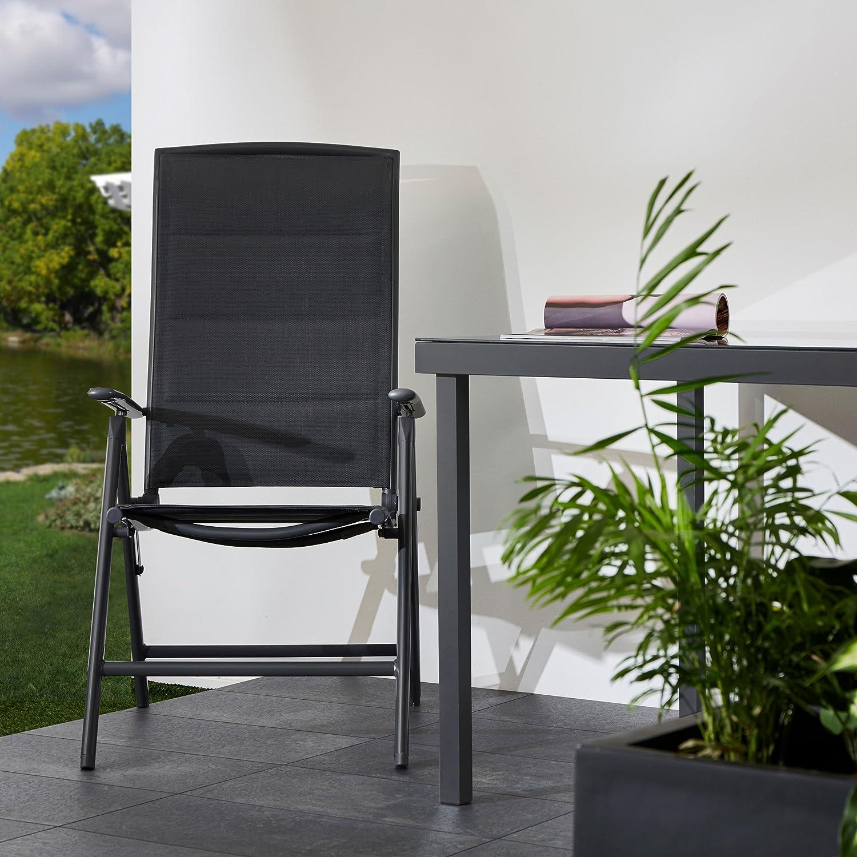 gepolstert,8-fach verstellbar Gartenstuhl 108,5 x 50 x 50 cm anthrazit Camping Stuhl wetterfest Ultranatura Aluminium Klappsessel Korfu Serie Plus