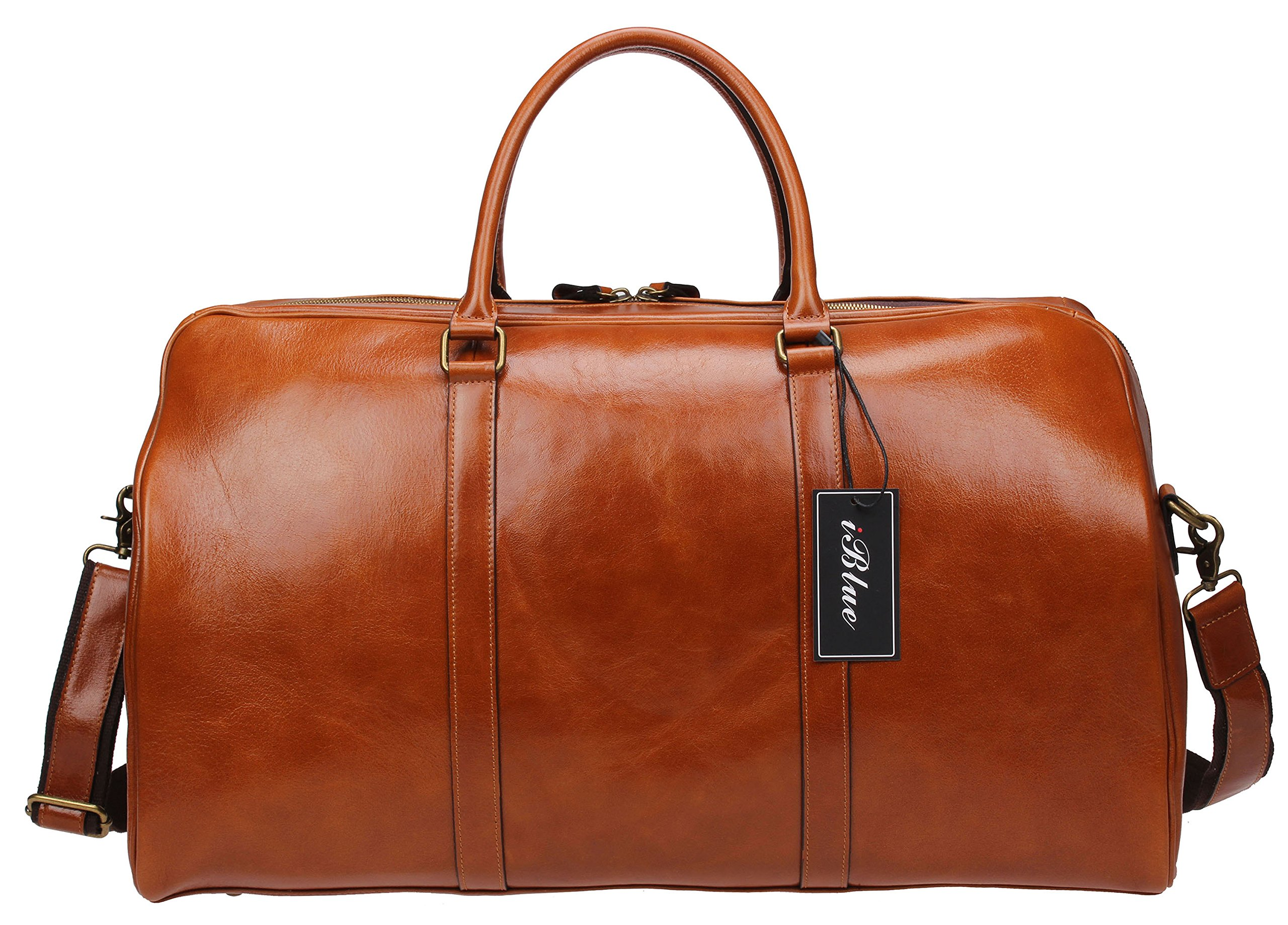 Iblue Mens Genuine Leather Crafted Overnight Travel Duffel Roomy Weekend Carry On Tote Airplane 22in #B002(XL 22'', brown)