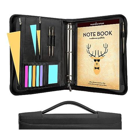 amazon com wundermax portfolio binder a zippered padfolio with