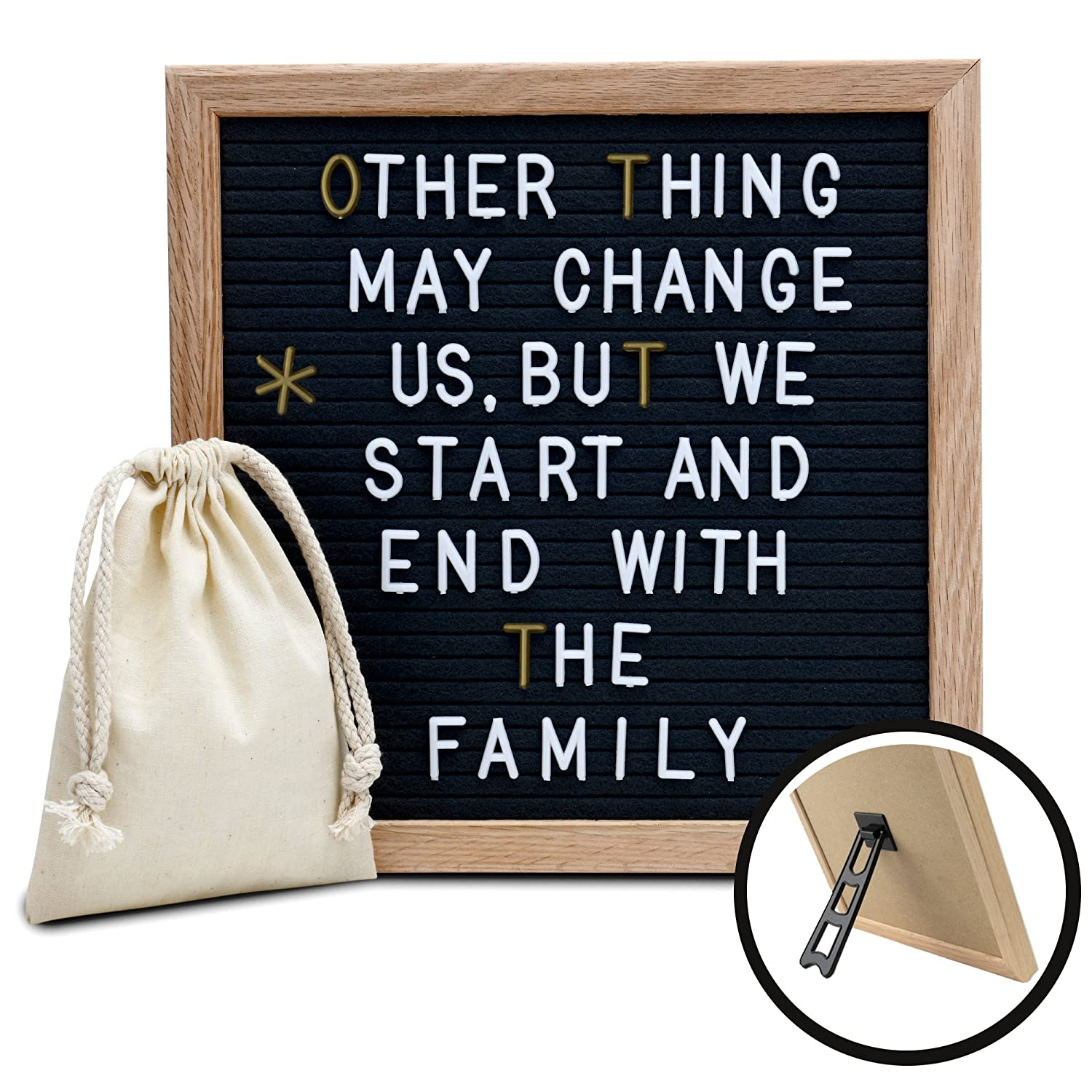 Amstorm Black Felt Letter Board 10x10 with Stand, 435 Gold and White Plastic Letters, Message Board has Oak Frame LB