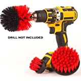 Drill attachment 3 Piece Medium and Stiff brush kit, cleaning time saver for kitchens, bathrooms, showers, tubs, tile, grout, carpet, car tires, boats, DIY power scrubber. (Red, Nylon)