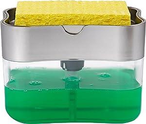 STS 592401 Soap Pump Dispenser and Sponge Holder, 13 Ounces, Silver