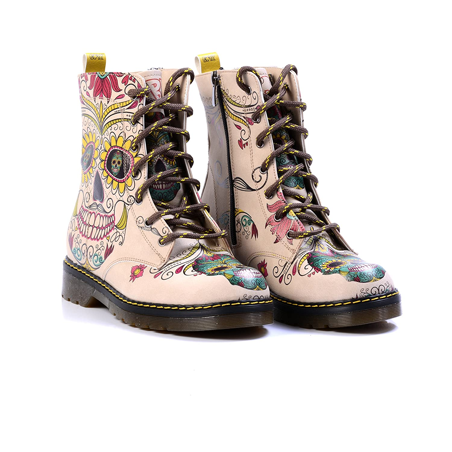 Goby Women S Shoes Buttercup Sugar Skull Combat Boot