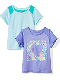 Amazon Brand - Spotted Zebra Girls' Toddler & Kids 2-Pack Active Short-Sleeve T-Shirts