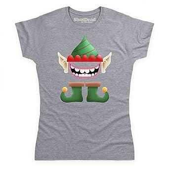 Shotdeadinthehead Christmas Elf Face Camiseta, Para Mujer: Amazon.es: Ropa y accesorios