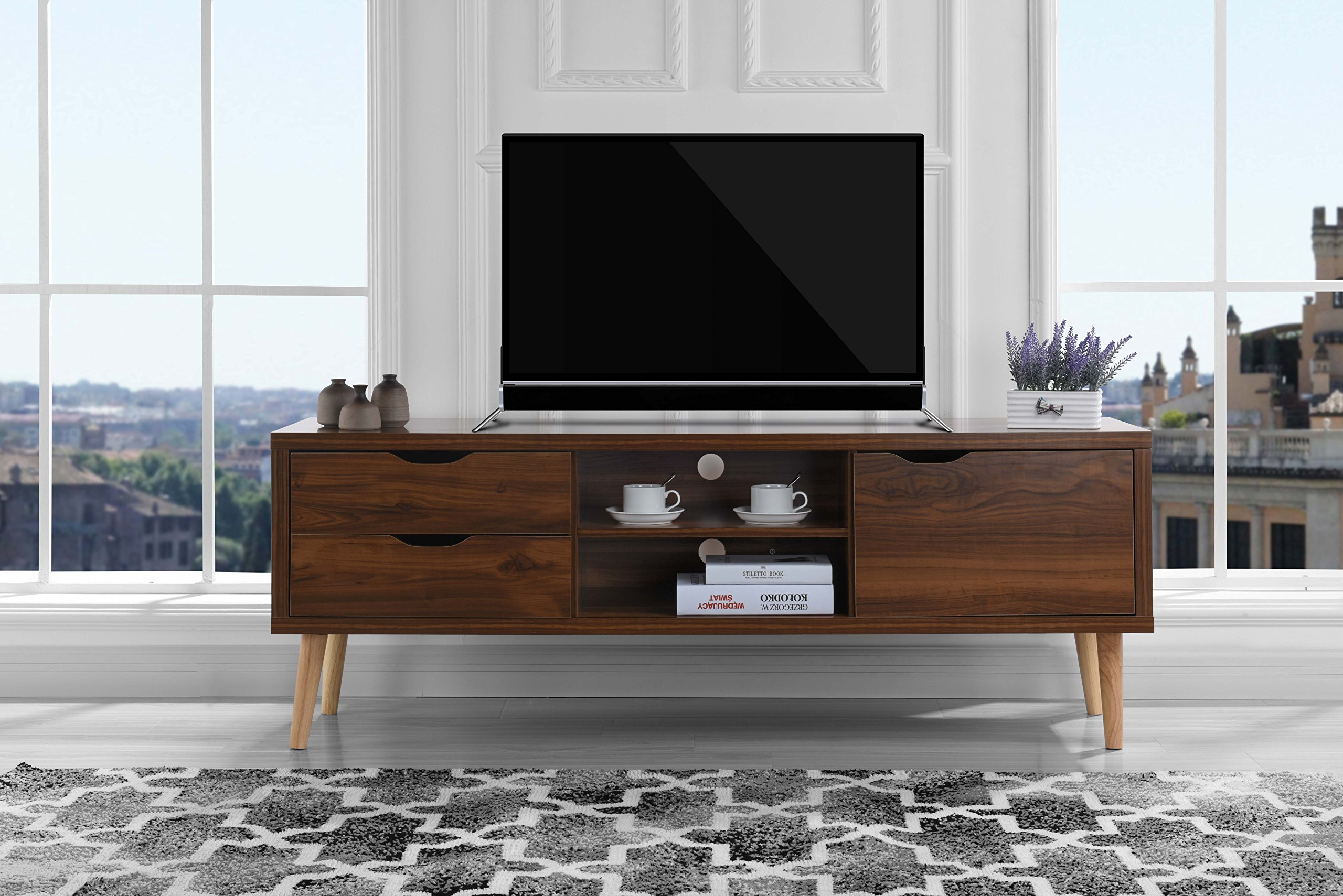 Mid-Century Style TV Stand, Living Room Entertainment Center (Brown) by Sofamania