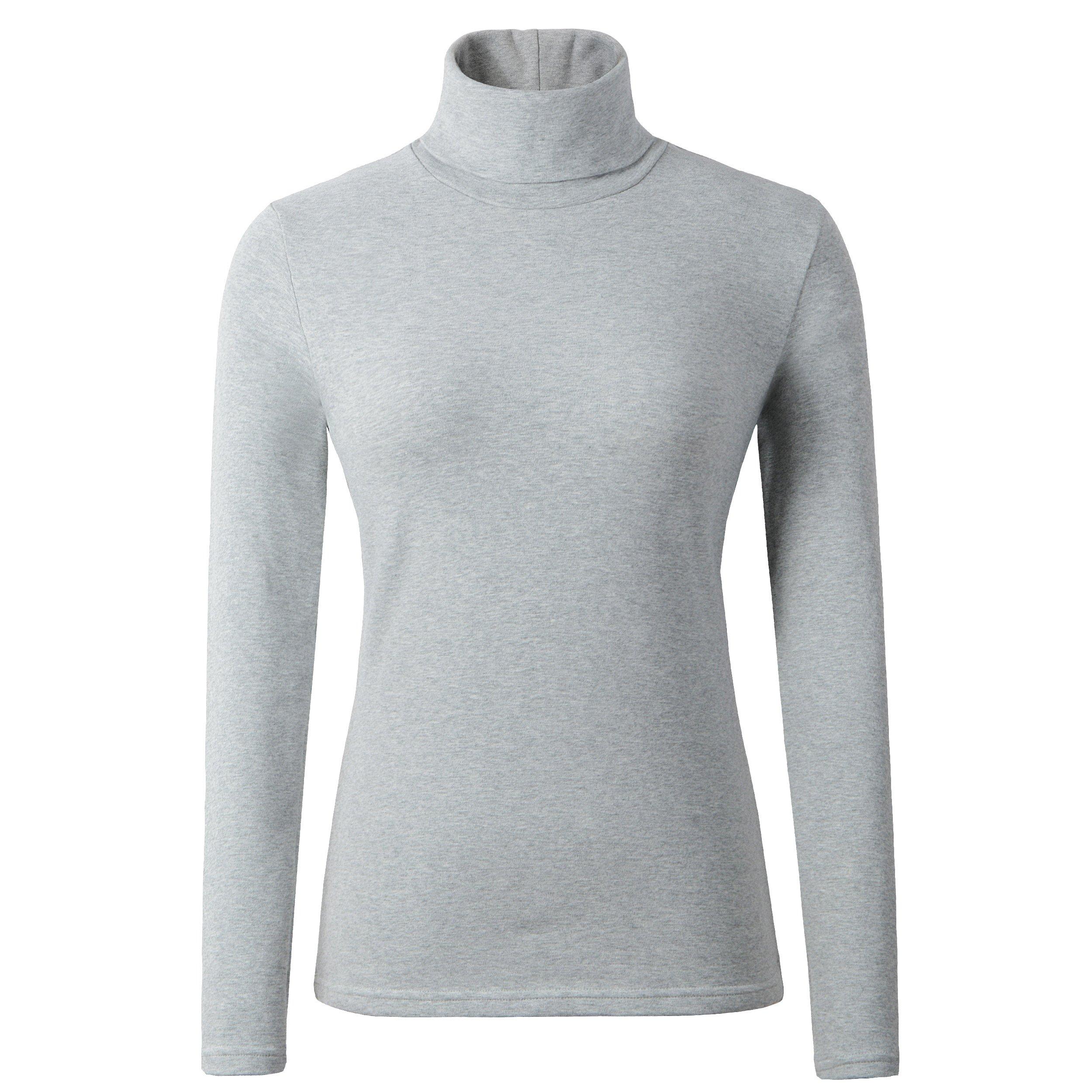 HieasyFit Women's Cotton Turtleneck Underscrub Knit Pullover Top LightGray S