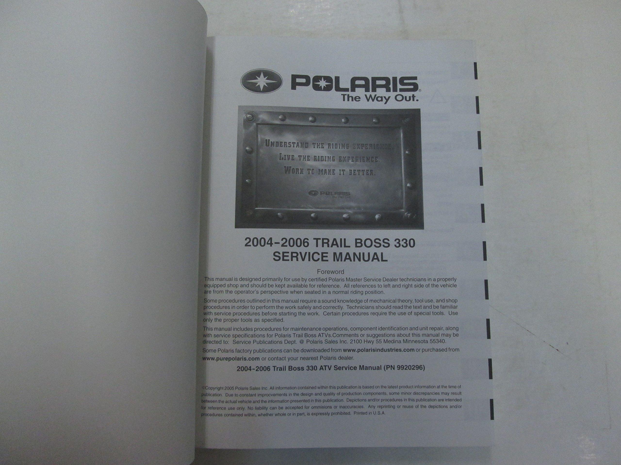 2004 05 2006 Polaris Trail Boss 330 Service Repair Manual MINOR STAINS  FACTORY: Polaris: Amazon.com: Books