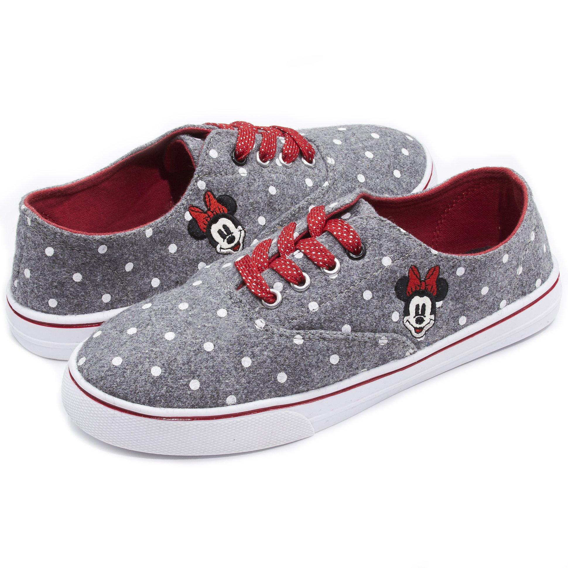 Disney Minnie Mouse Polka DOT Peekaboo Fashion Lace up Sneaker Grey 10