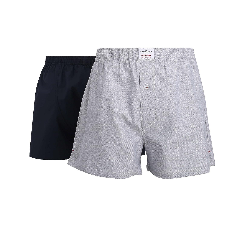 TOM TAILOR Herren Boxershort, Unterhose, Shorts - Boxers - Baumwolle, Popeline, Blau, Melange, mit Eingriff, 2er Pack