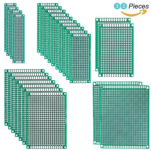 6 opinioni per Elegoo 32 pezzi 2X8 3X7 4X6 5X7 7X9CM Scheda Prototipo Double Side PCB Prototype