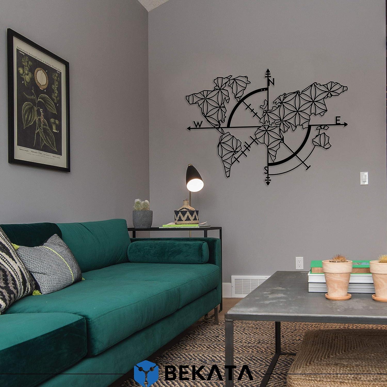 Bekata Colección de arte de pared de metal para sala de estar, mapa del mundo y brújula, decoración de pared, regalo de inauguración de la casa, regalo de boda, carte Du Monde mapa del mundo
