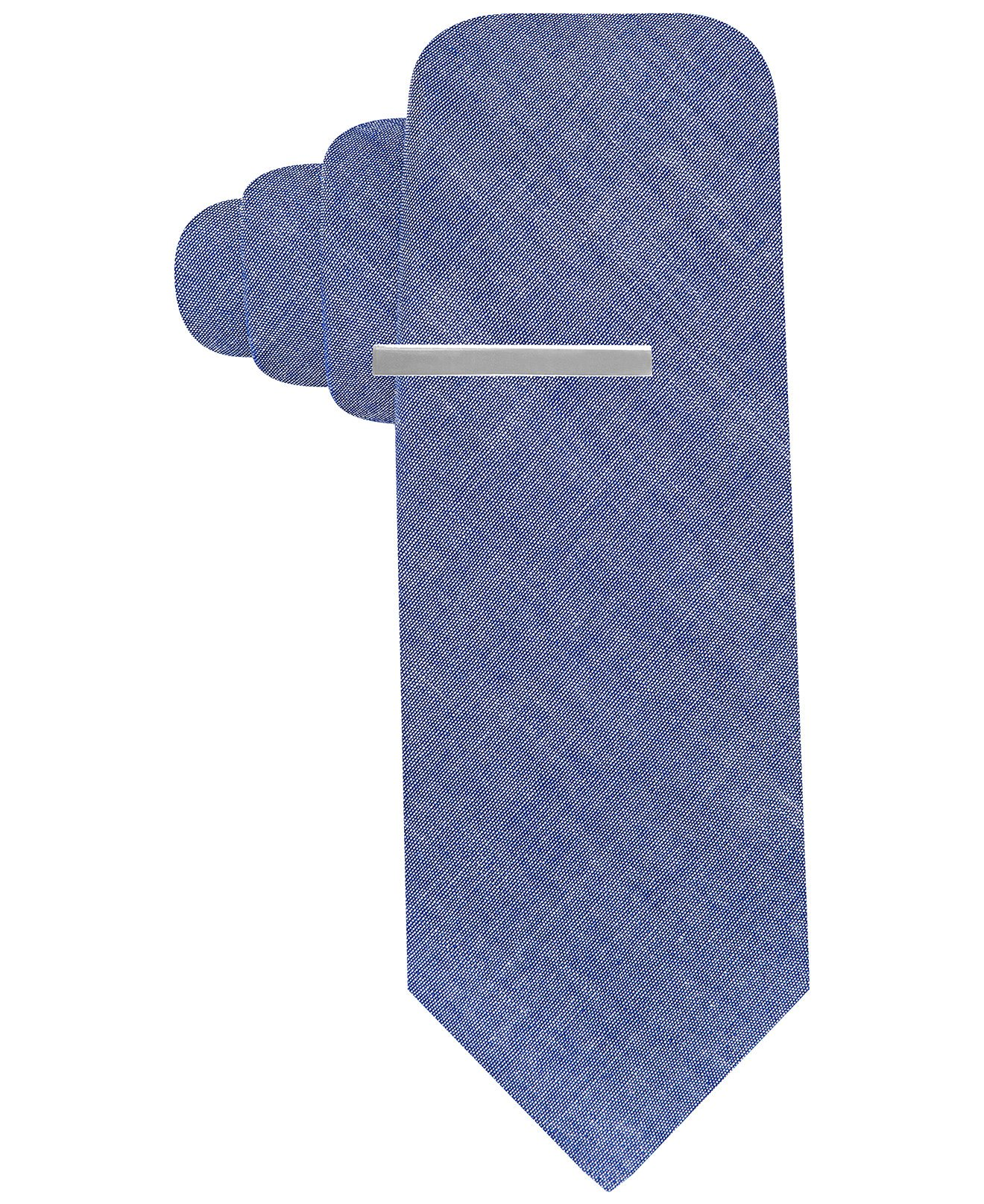 Alfani Red Men's Chambray Solid Skinny Neck Tie With Tie Clip Set (Blue)
