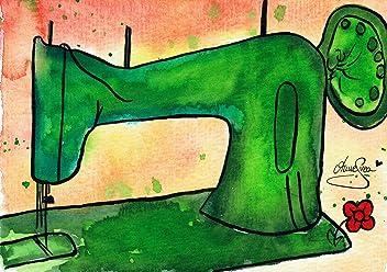 Nähen Postkarten 2 Stück A6 Aquarell Druck Nähmaschine AnneSvea Sewing Handmade Deko