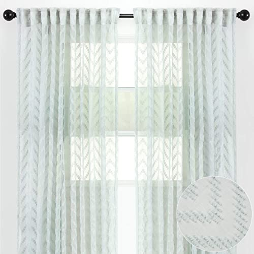 Chanasya 2-Panel Embroidered Design Textured Sheer Curtain Panels – for Windows Living Room Bedroom Kitchen Patio Office – Semi Translucent Window Drapes for Home – 52 x 108 Inches Long – Green Pearl