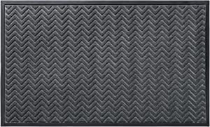 DEXI Durable Front Door Mat, Waterproof, Low-Profile, Heavy Duty Doormat for Indoor Outdoor, Easy Clean Rug Mats for Entry, Patio, Busy Areas, 35X59, Chevron Dark Grey
