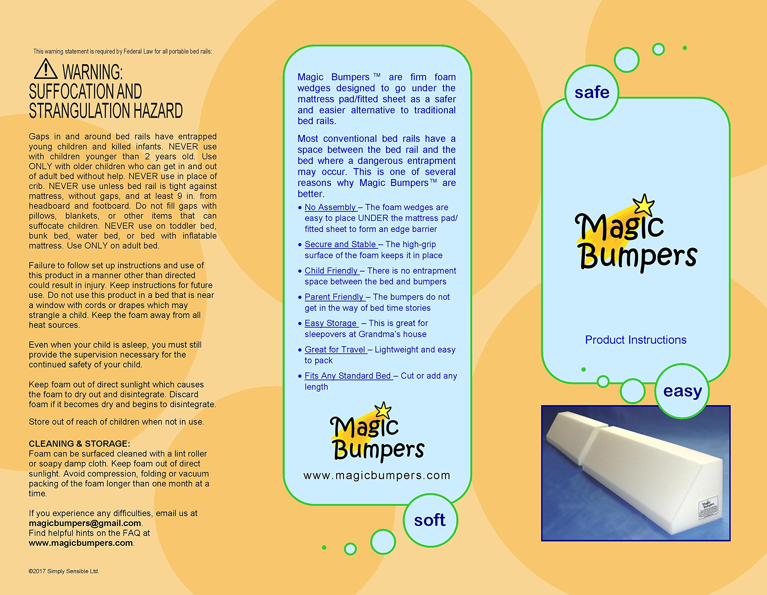 [2 Pack] Magic Bumpers Child Bed Safety Guard Rail 42 Inch - One Piece Design by Magic Bumpers (Image #8)