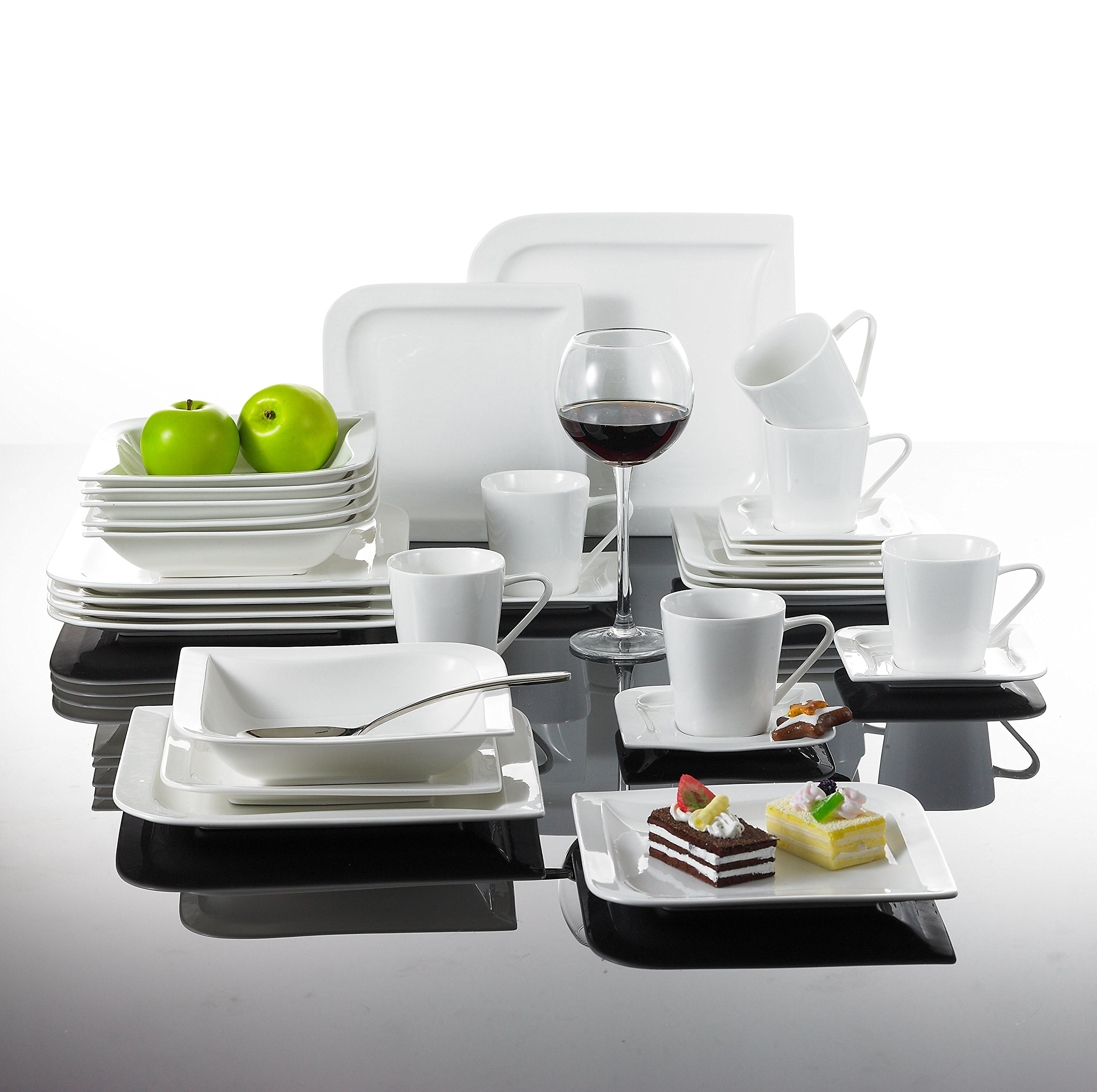 Malacasa, Series Joesfa, 36-Piece Ivory White Porcelain China Ceramic Dinnerware Sets of Cups, Saucers, Bowls and Plates Service for 6