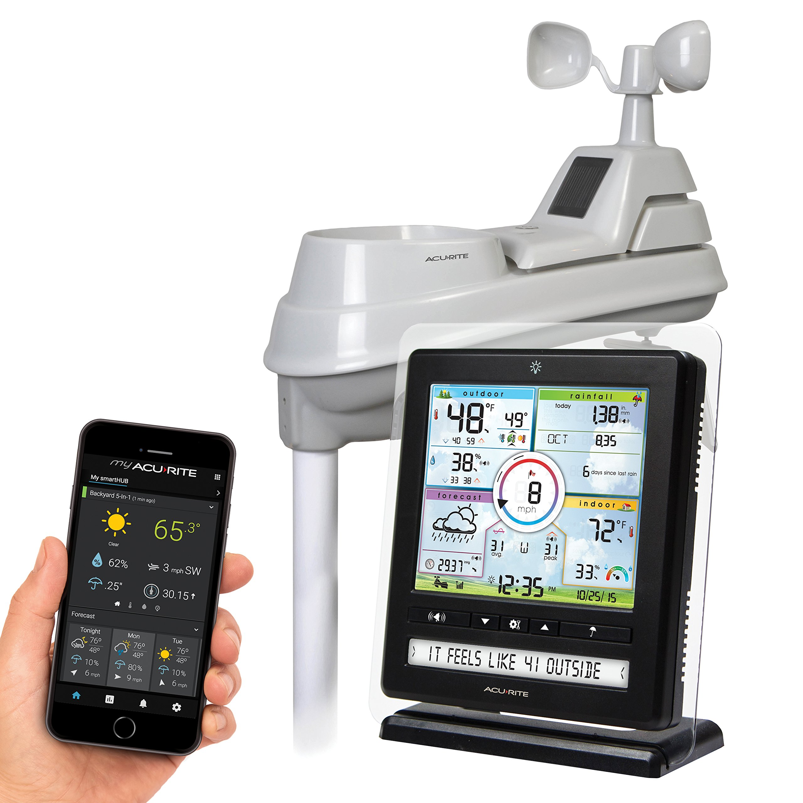 AcuRite 01536 Wireless Weather Station with PC Connect, 5-in-1 Weather Sensor and My AcuRite Remote Monitoring Weather App by AcuRite