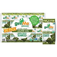gimMe Snacks - Organic Roasted Seaweed - Extra Virgin Olive Oil - (.17oz) - (Pack of 20) - non GMO, Gluten Free, Keto…