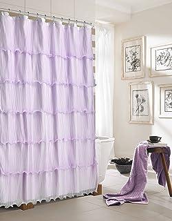 Purple Ruffle Shower Curtains
