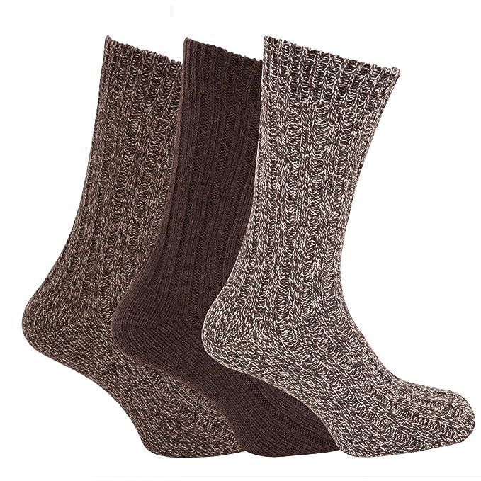 Calcetines gruesos térmicos con lana para botas hombre/caballero - Pack de 3 pares de calcetines (39-45 EUR/Tonos de marrón/Gris): Amazon.es: Ropa y ...