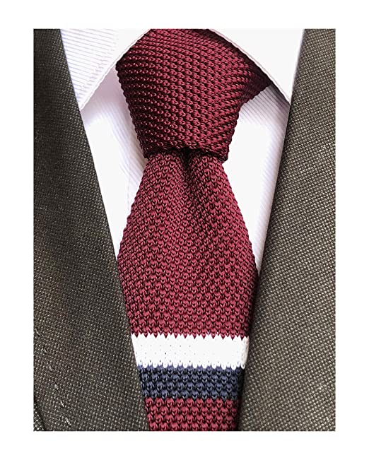 Downton Abbey Men's Fashion Guide Knit Ties for Men Vintage Business Smart Casual 2 Skinny Stripe Knit Tie Striped Necktie - Various Colors $11.99 AT vintagedancer.com