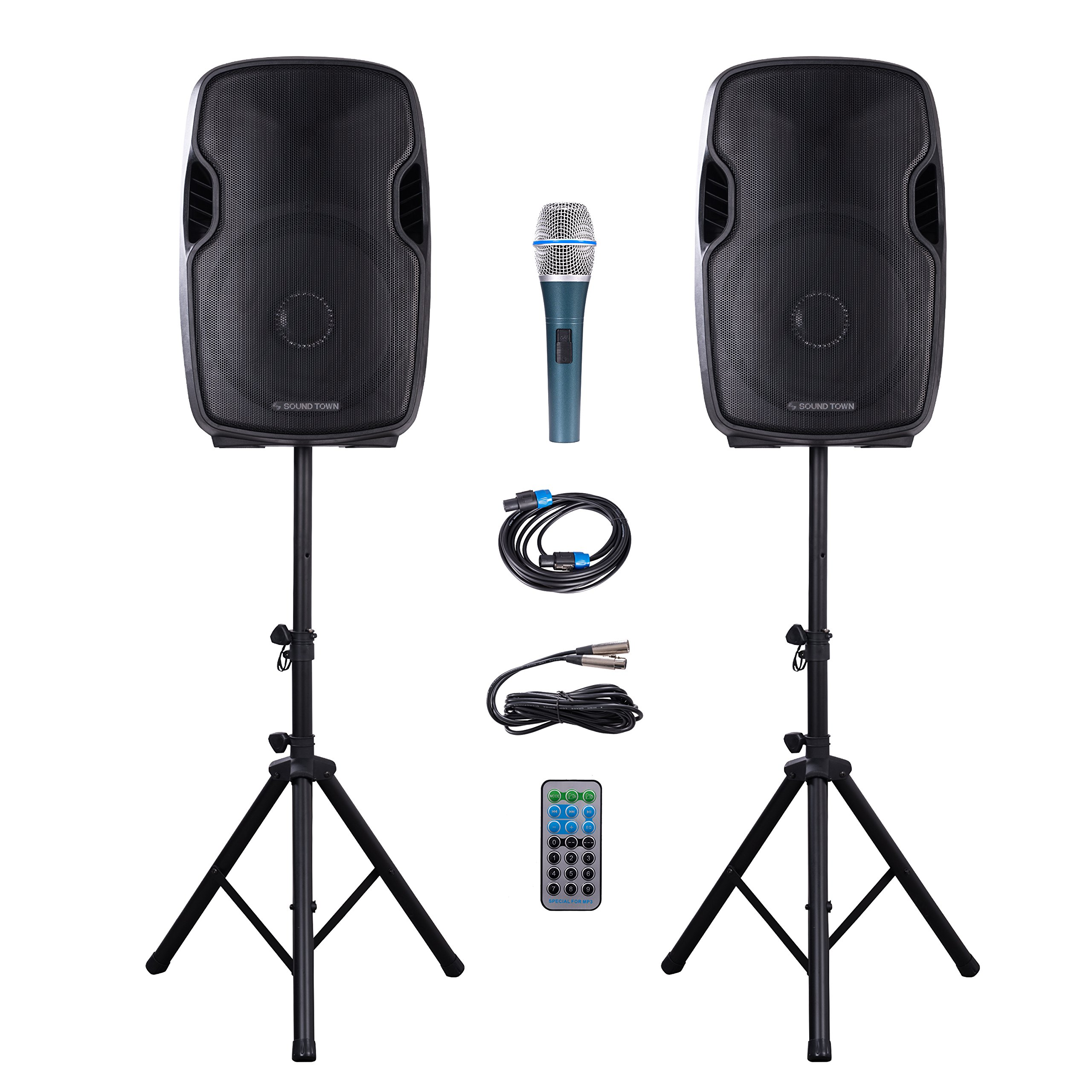 Sound Town Portable 15-inch 2-Way Powered PA Speaker System Combo Set with Bluetooth/Onboard Equalizer/USB/SD Card Reader/LED Light/1 Mic/2 Speaker Stands (DEIMOS-15PSC)