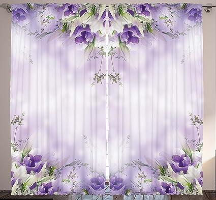 Amazon ambesonne floral curtains purple decor by romantic ambesonne floral curtains purple decor by romantic flowers floral art print chic garden park cafe mightylinksfo