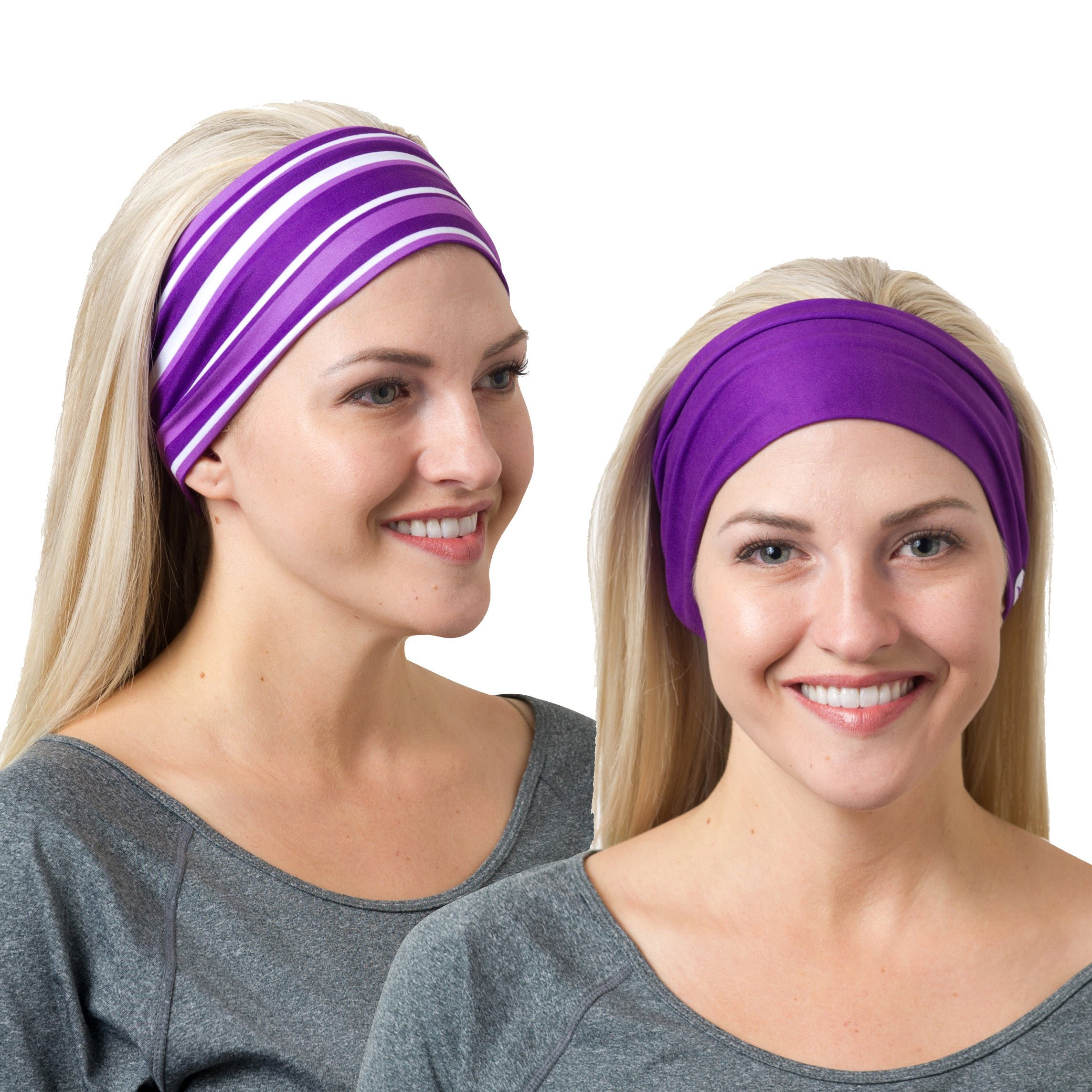 RiptGear Headband 2Pack - Purple Solid and Purple Striped by RiptGear